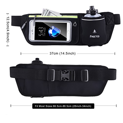 FREETOO Hydration Running Belt with Water Bottle (1X BPA Free 10oz) Adjustable Waist Pack Fits for 6 6S 6 Plus 7 7S / Plus &Smartphones W Touchscreen, Men & Women Fuel Belt Black