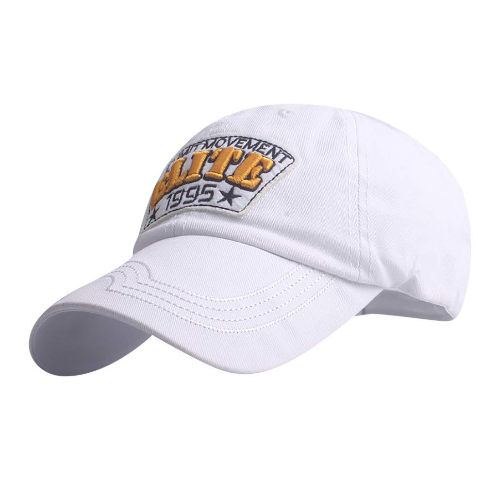 2019 Summer Hot Unisex Outdoor Embroidered Flower Denim Cap Fashion Baseball Cap Personalize Gifts Adjustable Cap (White)