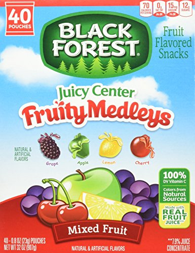Black Forest Medley Juicy Center Fruit Snacks, Mixed Fruit Flavors, 0.8 Ounce Bag, 40 Count (Snack Center)