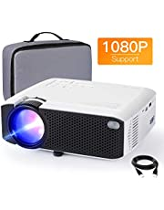 Projector APEMAN Mini Videoprojector Portable 4500 Lumens Built-in Dual Speakers 50000 Hours Home Theater Support HD 1080P HDMI / USB / VGA / AV / Micro SD Including Bag