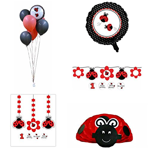 Ladybug Party Themed Decorations Kit – Ribbon Banner, Hanging Decorations, Centerpiece and Mylar and Latex Balloons – Girl's Birthday or Baby Shower Bundle
