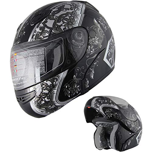 Motorcycle Helmet Adult DOT Modular Flip up Full Face Sports Bike Snowmobile Helmet with Anti-Fog Shield (138 Black, S)