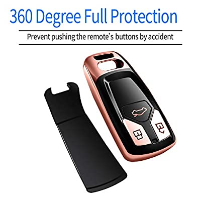Autophone for Audi Key Fob Cover Case Premium Soft TPU 360 Degree Entire Protection Key Shell Key Case Compatible with Audi A4 A5 Q5 Q7 TT TTS S4 S5 RS4 RS5 Smart Key (only for Keyless go)-Rose Gold: Automotive
