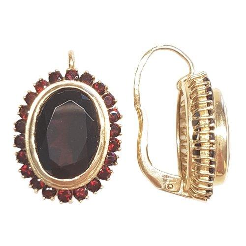 Clearance Boucles d'Oreilles Femme en Or 14 carats Jaune avec Grenat, 10 Grammes