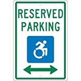 NMC TMS327H, 18''x12'' All Purpose Aluminum Handicapped Graphic Reserved Parking Double Arrow Sign, Pack of 12 pcs
