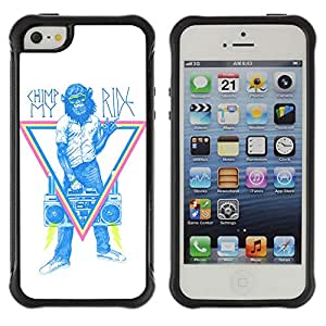 Hybrid Anti-Shock Defend Case for Apple iPhone 5 5S / Monkey Hipster Sign
