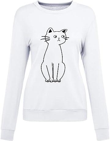 Luckycat Camiseta de Mujer Gato Imprimir Sin Tirantes Blusa O Cuello Sólido Manga Larga Tops t