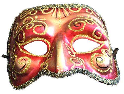 [Venetian Mask Beak Glitter Masquerade Drama (Red)] (Drama Mask Costume)