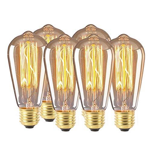 Zorara E27 ST64 Edison gloeilamp, 3 stuks Edison Vintage gloeilampen, 4W 220V dimbare Edison LED-lamp, warm wit antieke…