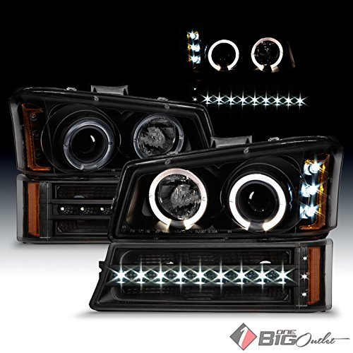2005 Smoked Led (For 2003-2006 Chevy Silverado/Avalanche Black Smoked Halo Projector Headlights + LED Strip Bumper Lights 2004 2005)