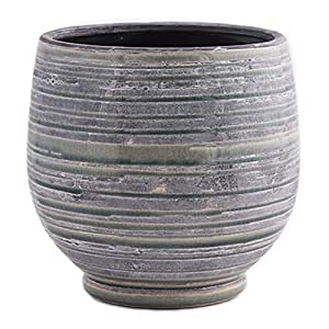 Little Green House Grey Ceramic Pot for Flowers