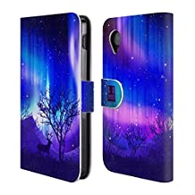 Head Case Designs Purple Forest Grove Northern Lights Leather Book Wallet Case Cover For LG Nexus 4 E960