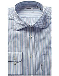 Faconnable Mens Club Fit Dress Shirt, 38, Blue