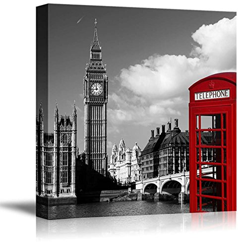 Black and White Photograph of London with Pop of Color on the Telephone Booth