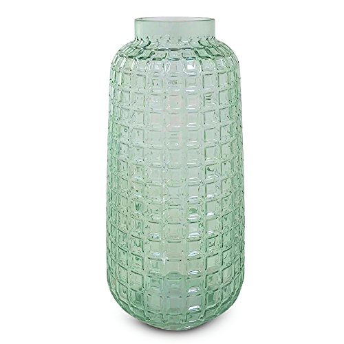 Whole House Worlds The Farmer's Market Spring Vase, Rustic Apple Green, Forest Spring Time Themes, Decorative Faceted Glass, 10 1/4 Inches Tall