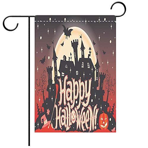 Double Sided Premium Garden Flag Halloween Medieval Gothic Castle with Happy Halloween Typography Stars Bats Moon Cheerful Multicolor Decorative Deck, patio, Porch, Balcony Backyard, Garden or Lawn ()