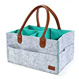 Ayboo Baby Diaper Caddy Organizer, Nursery Storage Bin for Diapers - Car Travel Bag - Blue Felt Basket Large Capacity Nursery Diapers Organizer for Newborn