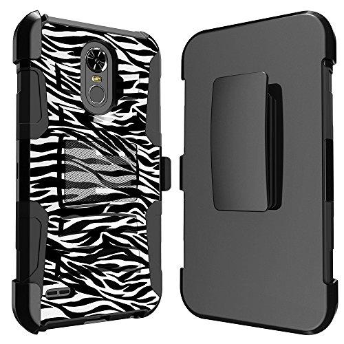 Wht Zebra - for (2018) LG Stylo 4 LG Stylus 4 LG Q Stylo 4 LM-Q710, LM-L713DL Ituffy [Impact Resistance] Dual Layer [Belt Clip] Holster Combo [Kickstand] Phone Case BLK-WHT Zebra