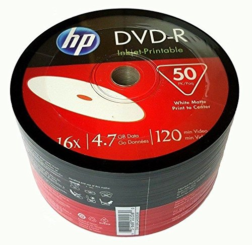 HP DVD-R16x 4.7GB White Inkjet Hub Printable 50 pieces by HP
