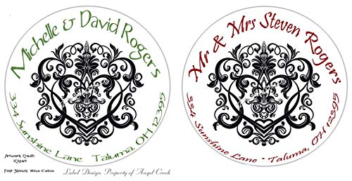 Customized Personalized Round Address Labels - Black Damask Elegant Flourish - Choice of 3 Sizes ()
