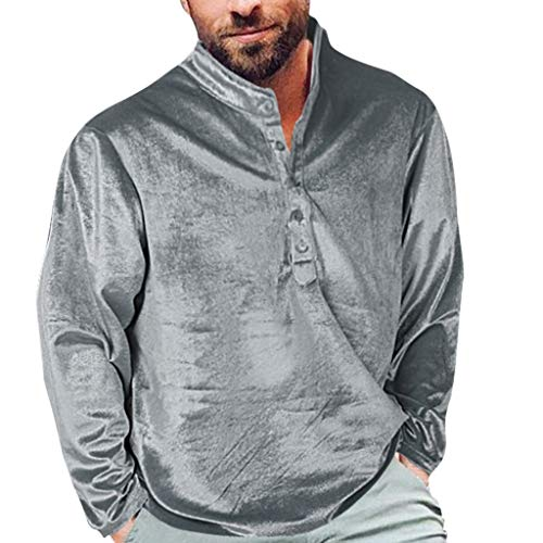 Fshinging Men's Plus Size Shirt Velvet Blouse Comfortable Blouse Top Autumn Button Down Pullover Sweatshirt[Silver,M]