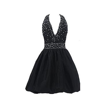 c5f6b7a9c3 Kivary Women s Short Little Black Cocktail Beaded V Neck Prom Party Dresses  ...