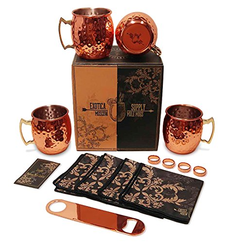 Moscow Mule Copper Mugs Set Of 4 - 16oz - Stainless Steel Lining (All Inclusive set with 5 BONUS) with Cocktail Drinks Kit