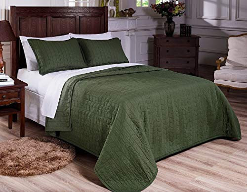 Mk Collection 3pc Queen Quilted Bedspread Embroidery Solid Green 100% Cotton Pre-Washed New (Green Dark Quilt)