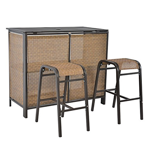 LCH 3 pcs Rattan Bar Set, 1 Table 2 Bar Stools, Outdoor Patio Furniture Set, Backyard, Porch, Garden, Brown