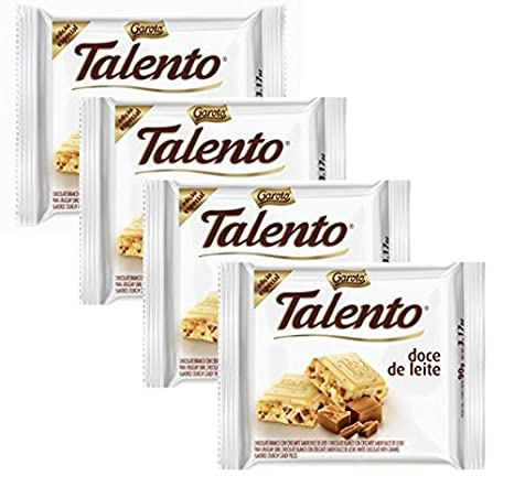 Amazon.com : GAROTO Talento Chocolate 90 gr. each - PACK of 4. (Chocolate Meio Amargo Amendoas, 4 Pack) : Grocery & Gourmet Food