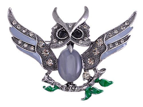 Alilang Antique Cute Wise Stone Owl on Branch Painted Enamel Crystal Rhinestone Bird Brooch Pin