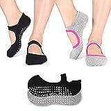 TAIDIKING Non Slip Socks Cotton Yoga Socks Pilates Ballet Socks Dance for Women Men 2 Pack(Black & Grey)