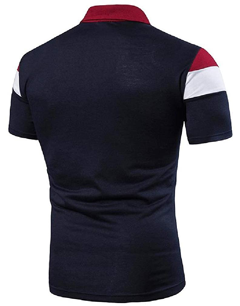 Joe Wenko Men Polo Shirt Summer Color Block Casual Short Sleeve T-Shirts