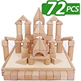 iPlay, iLearn Kids Building Blocks Toys Set, 72 PCS Wood Blocks, Natural Wooden Stacking Cubes, Structure Tile Games, Educational and Activity Toy for Age 2, 3, 4, 5 Year Olds Up, Children, Toddlers