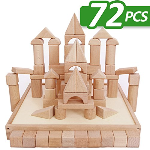 iPlay, iLearn Kids Wooden Building Block Set, 72 PCS Wood Castle Blocks Kit, Natural Wooden Stacking Cubes, Educational Montessori Toy for Age 3, 4, 5 Year Olds Up, Children, Preschoolers, Boys, Girls (Set Building Block)