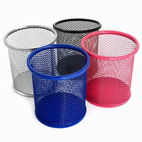 Pen Holder - Mesh Pencil Holders for Desk - 4 Inch Metal Office Desk Pen Organizer Holders - Medium Sized Colorful Pen Cup Pencil Cup [4 Pack]