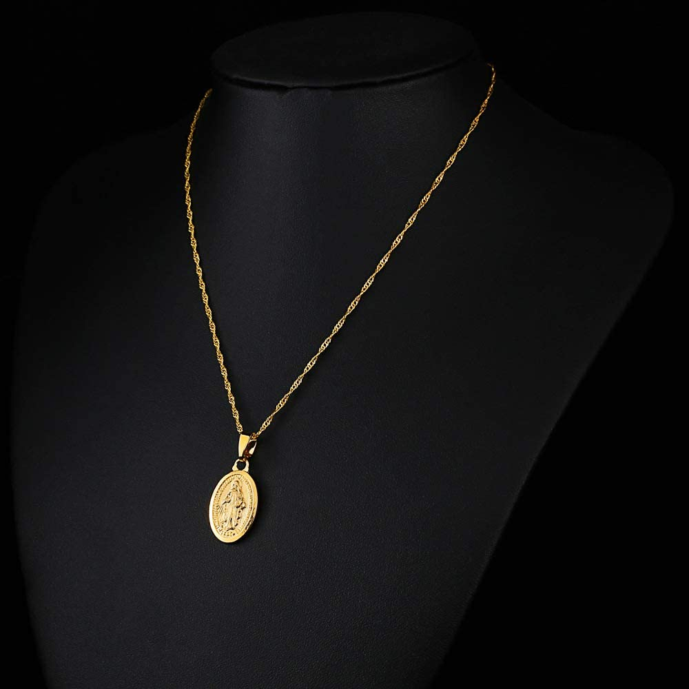S SAYYID Water Wave Necklace Virgin Mary Clavicle Necklace