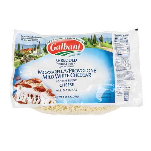 Galbani Whole Milk Low Moisture Shredded Mozzarella Provolone Mild White Cheddar Blend Cheese, 5 Pound -- 6 per case.