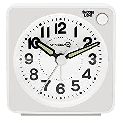 U-needQ Mini Travel Analog Alarm Clock, Non-Ticking - Battery Operated, Quartz Clock with 5 min Snooze- Loud Ascending Sound- Alarm Clocks with Night Light for Traveling, Backpacking(White-Round Dial)