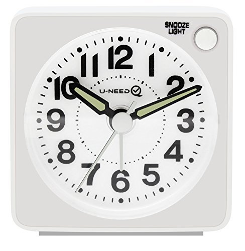 U-needQ Mini Travel Analog Alarm Clock, Non-Ticking - Battery Operated, Quartz Clock with 5 min Snooze- Loud Ascending Sound- Alarm Clocks with Night Light for Traveling, Backpacking(White-Round Dial) (Analog Compact)