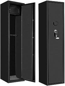 "Large Rifle Safe Quick Access 4/5-Gun Shotgun Safe Cabinet with with Lock Box and 2 Keys, Electronic Rifle Gun Safe for Rifle, Long Gun, Firearms (Metal Black),13.6"" x 13.6"" x 56.9"""