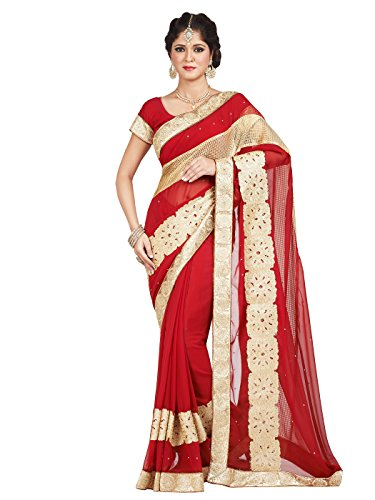 Cotton Silk Embroidered Skirt (Shonaya Women's Embroidered Georgette Red Designer Saree With Unstitched Blouse Piece)
