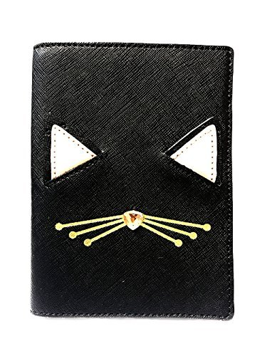 Kate Spade Imogene Leather Passport Holder Case, Multi (Jazz Things Up Cat Black-926)