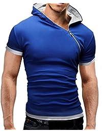 Mens Lightweight Zipper Front Hoodie Short Sleeve Tee Shirt