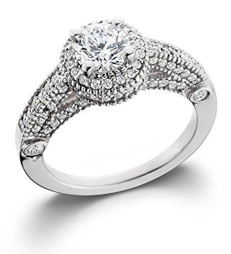 1 1/6ct Vintage Halo Diamond Engagement Ring 14K White Gold - Size 7