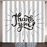 Nalahome thank you hand drawn lettering poster vector calligraphy Digital Printed Blackout Window Curtains 84x54 inches