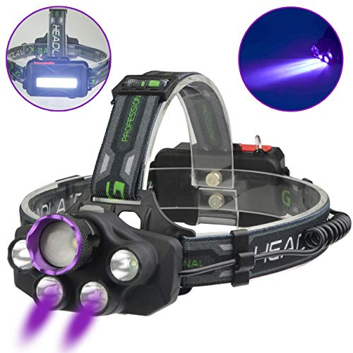X-BALOG Headlamp with Purple UV Light - Purple Ultra Violet Backlight Headlight USB Rechargeable -Detect Fake Money/Jewelry Detects Scorpions- Pet UV Urine & Stain Detectorfor Dog/Cat Urine,Dry Stains (Best Headlamp For The Money)