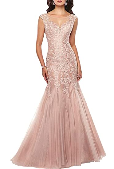 ShineGown Pink Mermaid Long Tulle Prom Dress Lace Applique Round Neck Sleeveless For Formal Evening Party: Amazon.co.uk: Clothing