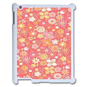 3D Hand Drawn Pink Flower Pattern IPad 2,3,4 2D Case, Cheap Case Ipad Case for Ipad 2 Pharrel {White}