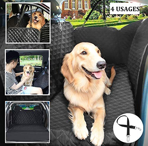 Pecute Dog Seat Cover 100% Waterproof Car Seat Covers for Pets Back Seat Cover with Mesh Window, Scratch Proof Nonslip Dog Car Hammock, Car Seat Covers for Dogs, Dog Backseat Cover for Cars Trucks SUV